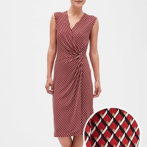Red criss cross faux wrap dress